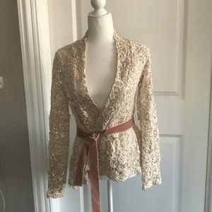 Embellished crochet wrap sweater